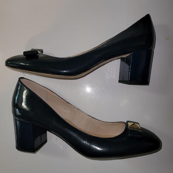 Kate Spade Navy Blue Patent Gold Bow Block Heels
